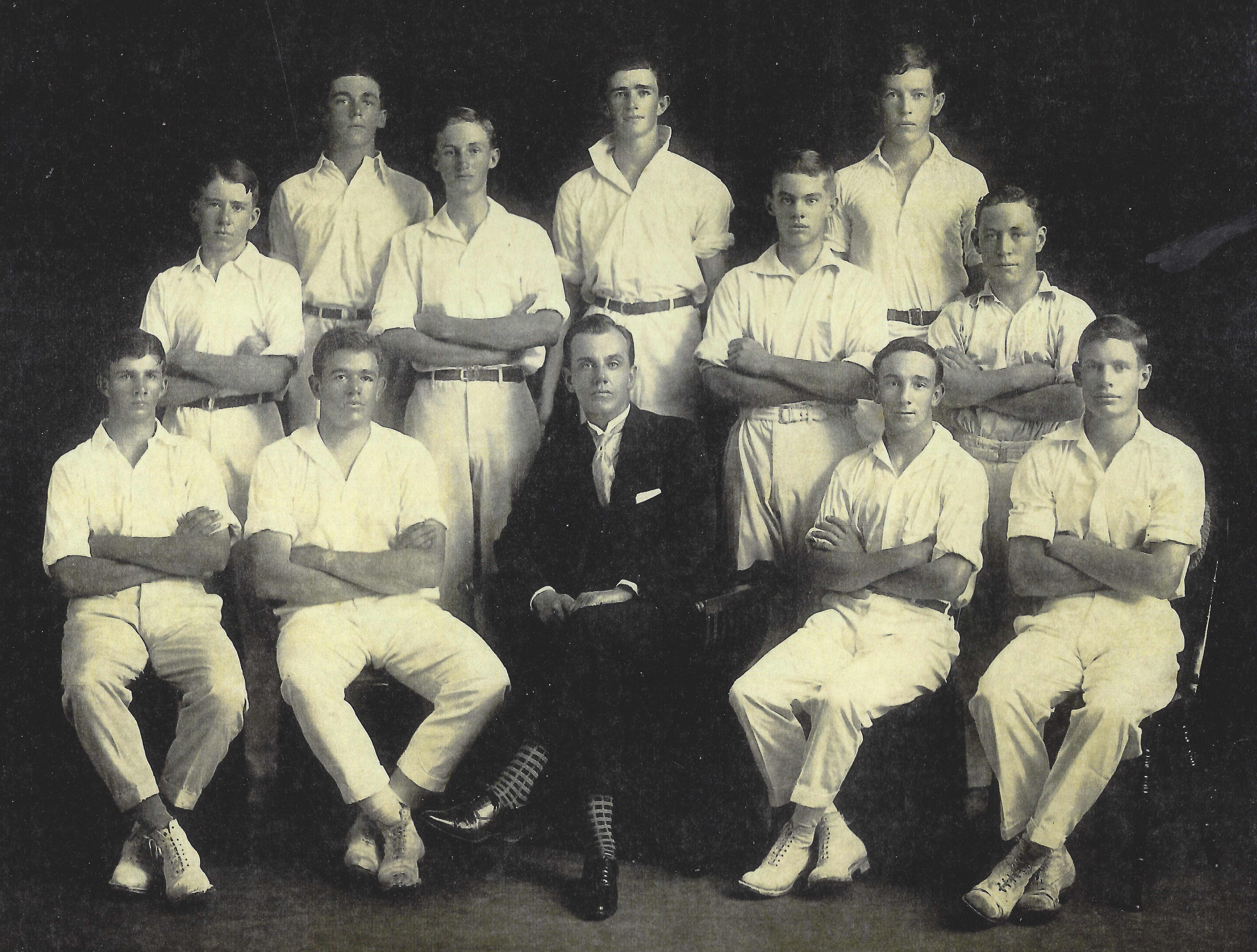 1927 - Churchie and the A Grade cricket team (Des 2nd from right front row)