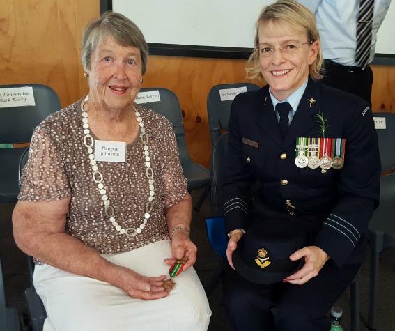 Nanette Johnston and Wing Commander Merilyn White